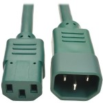 2ft Heavy Duty Power Extension Cord 15A 14 AWG C14 C13 Green 2' - Power extension cable - IEC 60320 C14 to IEC 60320 C13 - 2 ft - green