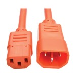 2ft Heavy Duty Power Extension Cord 15A 14 AWG C14 C13 Orange 2'