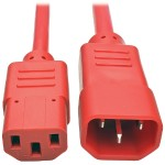 2ft Heavy Duty Power Extension Cord 15A 14 AWG C14 to C13 Red 2' - Power extension cable - IEC 60320 C14 to IEC 60320 C13 - 2 ft - red