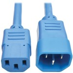 6ft Computer Power Extension Cord 10A 18 AWG C14 to C13 Blue 6' - Power extension cable - IEC 60320 C14 to IEC 60320 C13 - 6 ft - blue
