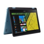 "Spin 1 SP111-31-C62Y - Flip design - Celeron N3450 / 1.1 GHz - Win 10 Home 64-bit - 4 GB RAM - 500 GB HDD - 11.6"" IPS touchscreen 1920 x 1080 (Full HD) - HD Graphics 500 - Wi-Fi - black, turqouise blue"
