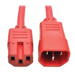2ft Heavy Duty Power Extension Cord 15A 14 AWG C14 C15 Red 2'