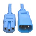 3ft Heavy Duty Power Extension Cord 15A 14 AWG C14 C15 Blue 3'