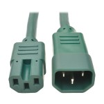 3ft Heavy Duty Power Extension Cord 15A 14 AWG C14 C15 Green 3'