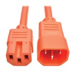 3ft Heavy Duty Power Extension Cord 15A 14 AWG C14 C15 Orange 3'