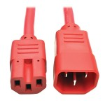 3ft Heavy Duty Power Extension Cord 15A 14 AWG C14 C15 Red 3'
