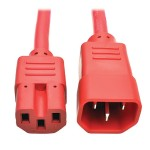 6ft Heavy Duty Power Extension Cord 15A 14 AWG C14 C15 Red 6'