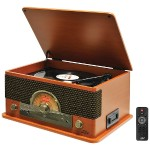 Retro-Style Bluetooth Turntable with Vinyl to MP3 Recording, CD Player & Cassette Player (Wood Style)