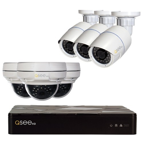 PCM | Q-See, 8-Channel 4MP IP Indoor/Outdoor Surveillance NVR System with  (3) 4MP Dome Cameras, (3) 4MP Bullet Cameras, 2TB Hard Drive, QT878-6EK-2