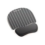 Photo Gel Mouse Pad Wrist Rest with Microban - Mouse pad with wrist pillow - black chevron