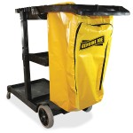 "Workhorse Janitor's Cart - 40"" Width x 20.5"" Depth x 38"" Height - Charcoal, Yellow"