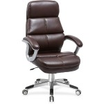 Brown Bonded Leather High-back Chair