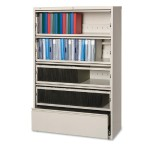 Receding Lateral File with Roll Out Shelves - Putty