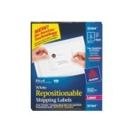 Repositionable Shipping Labels 55164 - Labels - repositionable adhesive - white - 3.3 in x 4 in 600 label(s) (100 sheet(s) x 6)