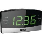 Naxa Electronics Bluetooth Easy-Read Dual-Alarm Clock with Daily Repeat NRC-181