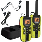 40-Mile 2-Way FRS/GMRS Radios with Headset (Yellow; Li-Ion Batteries)