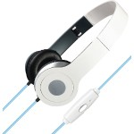 Stereo Designer Headphones with Microphone & Glowing Cable (White)