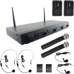Wireless Microphone System, UHF Quad Channel Fixed Frequency (2 handheld, 2 headset & 2 lavalier microphones)