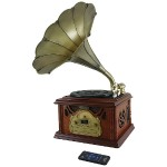 Retro-Style Bluetooth Turntable Phonograph with Acoustic Horn, Vinyl to MP3 Recording & Cassette Deck