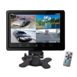 9'' Video Display Monitor Quad View (4) Source Zone Display Multiple Source Input Selectable Viewing Mode Backup Camera Compatible (Black)