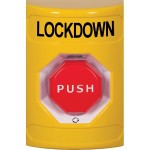 Yellow No Cover Turn-to-Reset (Illuminated) Stopper Station with LOCKDOWN Label English