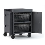CUBE Cart AC for up to 32 devices with Back Panel, Charcoal Paint