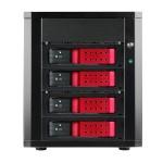 """4-bay 3.5"""" SAS/SATA 6.0 Gb/s miniSAS Trayless JBOD Enclosure - Red HDD Handle"""