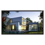 """110"""" Diagonal (54x96) Fixed Frame Projector Screen, HDTV Format, Matte White Fabric"""