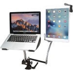 Heavy-Duty Dual Gooseneck Clamp Stand with Laptop and Tablet Holders (7-13 Inch Tablets)