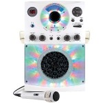 Bluetooth Karaoke System with LED Disco Lights and Microphone - White