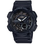 Sporty Analog/Digital Watch - Black