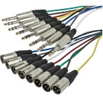 1 Meter (3ft) 8-Channel 1/4inch TRS Male to XLR Male Snake Cable