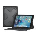 Rugged Messenger - Keyboard and folio case - backlit - Bluetooth - black keyboard, black case - for Apple 9.7-inch iPad (5th generation)