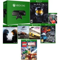 Microsoft XBOX One Console Bundle - 500GB, Controller, Halo Master Collection, Halo 5, Forza 5, Forza Horizon 2, Scream Ride, The Crew & Lego Marvel Heroes, Black - Refurbished MXBOX500G7GAM-B8/R