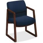 2400 Series Mocha Hardwood Sled Base Guest Chair - Navy Seat