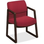 2400 Series Mocha Hardwood Sled Base Guest Chair - Fabric Red Seat