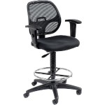 Interion Mesh Back/Fabric Seat Drafting Stool - Black
