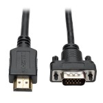 HDMI to VGA Active Converter Cable, HDMI to Low-Profile HD15 (M/M), 1920 x 1200/1080p @ 60 Hz, 3 ft.
