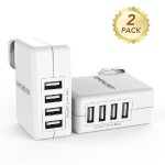 40W 4-Port USB Wall Charger with Smart Technology Travel Charger For iPhone 7 / 6s / Plus, iPad Pro / Air 2 / mini, Galaxy S7 / S6 / Edge / Plus, Note 5 / 4, LG, Nexus, HTC and More- 2 Pack