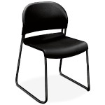 GuestStacker High-Density Stacking Chair - Black with Black Finish Legs, 4/Carton