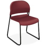 GuestStacker High-Density Stacking Chair - Burgundy with Black Finish Legs, 4/Carton