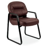 Pillow-Soft Guest Chair - Leather Burgundy