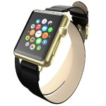 Reese Double Wrap - Chic Leather Wrap Around Band for Apple Watch, 38mm, Black with Gold Buckle