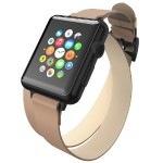 Reese Double Wrap - Chic Leather Wrap Around Band for Apple Watch, 38mm, Taupe with Black Buckle