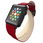 Reese Double Wrap - Chic Leather Wrap Around Band for Apple Watch, 38mm, Red with Black Buckle