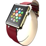 Reese Double Wrap - Chic Leather Wrap Around Band for Apple Watch, 38mm, Red with Gold Buckle