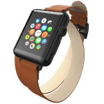 Reese Double Wrap - Chic Leather Wrap Around Band for Apple Watch, 38mm, Tan with Black Buckle
