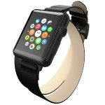 Reese Double Wrap - Chic Leather Wrap Around Band for Apple Watch, 38mm, Black with Black Buckle