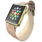 Reese Double Wrap - Chic Leather Wrap Around Band for Apple Watch, 38mm, Taupe with Gold Buckle