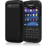 DualPro SHINE Dual Layer Protection with Brushed Aluminum Finish for BlackBerry Classic - Black